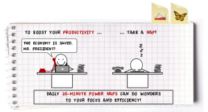 Cartoon showing the correlation between napping and productivity.