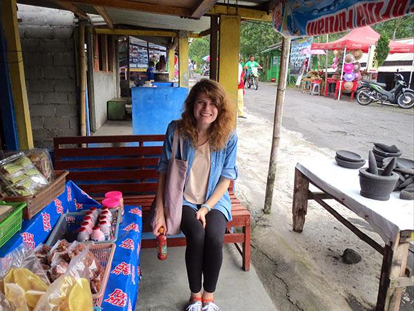 Sitting at a stall at Mount Merapi, Yogyakarta