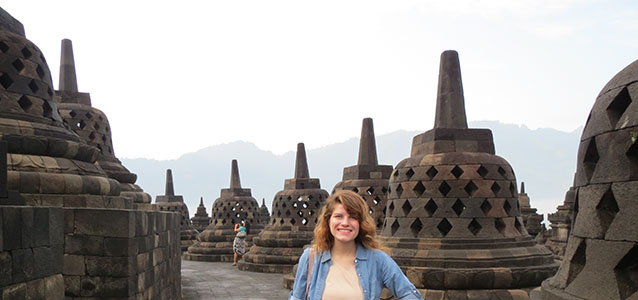 Standing at the Borobudur Temple in Yogyakarta