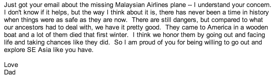 Father Email about Malaysian Airlines